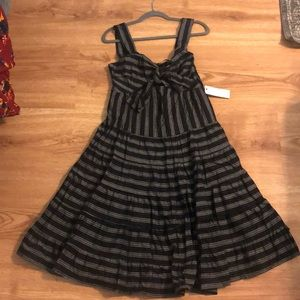 Flirty black and white midi dress